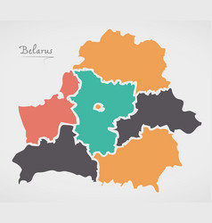 Belarus map with states and modern round shapes vector