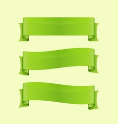 Set of green sleek web ribbon vector image