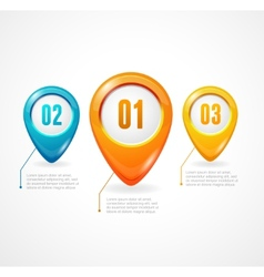 Map markers with numbers and text vector image