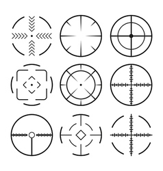 Set of black crosshairs icons isolated on white vector