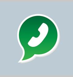 Green phone handset in speech bubble icon vector