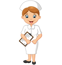 Cartoon smiling nurse holding clipboard vector