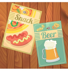 Beer snack pizza and sausages vector