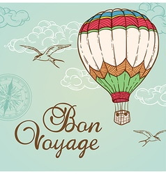 Green vintage background with air balloon vector