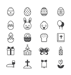 Easter icons line vector