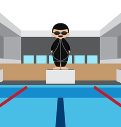 Swimming pool with swimming athlete vector