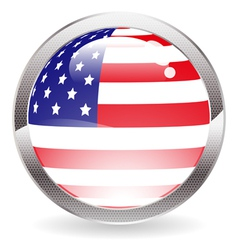 Gloss button with american flag vector