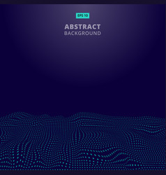 abstract digital blue dots wave with flowing vector image