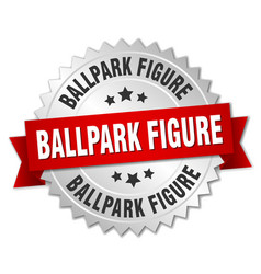 ballpark figure round isolated silver badge vector image