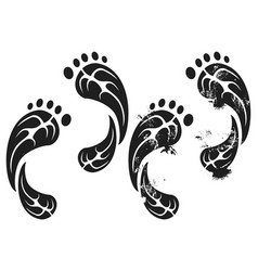 black grunge carbon eco footprints vector image vector image