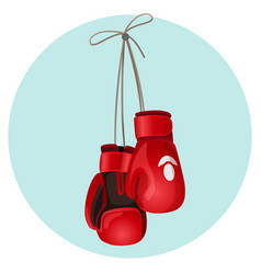 Boxing leather gloves in red and black color vector