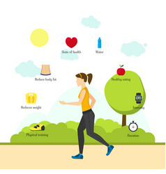 Cartoon jogging girl infographics vector