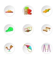 Children rides icons set cartoon style vector