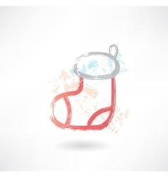 Christmas sock grunge icon vector image vector image