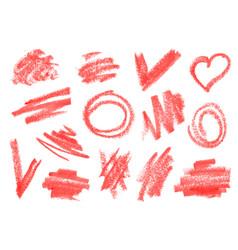 Crayon dry brush lipstick rough strokes doodles vector