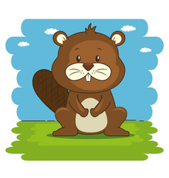 Cute adorable beaver animal cartoon vector