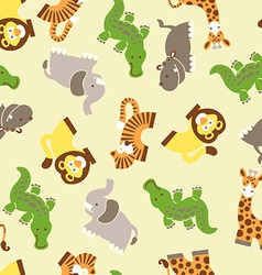 Cute wild animals seamless pattern vector