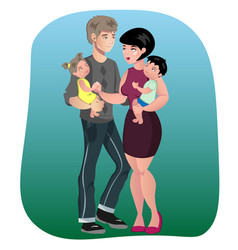 father mother son and daughter together vector image