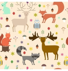Forest animals seamless background flat style vector