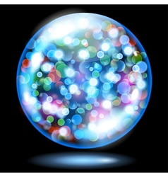 Glass sphere with glowing sparkles vector