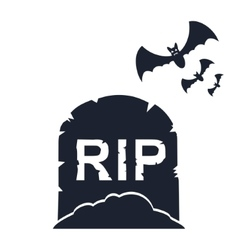 gravestone with bats vector image vector image