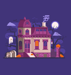 halloween haunted house scene vector image vector image
