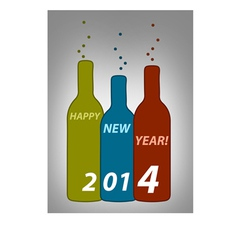 Happy new year bottles vector image