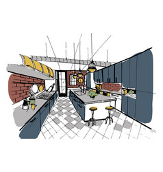 modern kitchen interior in loft style hand drawn vector image vector image