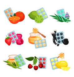 Package of lozenges set flavored different tastes vector