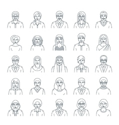 People faces avatars flat thin line icons vector