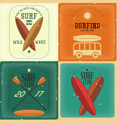 retro surfing posters vector image