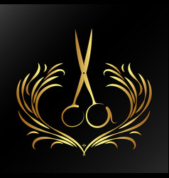 Scissors with an ornament for a hairdresser and vector
