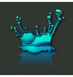 splash water with reflection on gray background vector image vector image