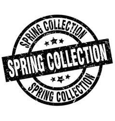 Spring collection round grunge black stamp vector