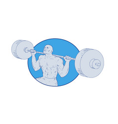 Strongman powerlifting barbell drawing vector