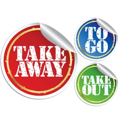 Take away to go and take out grunge stickers vector image vector image
