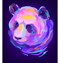 The cute colored panda head vector image