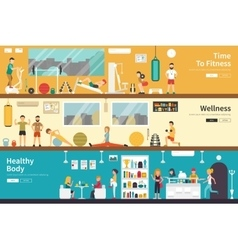 Time to fitness wellness healthy body flat vector