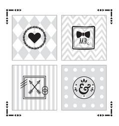 Trendy kids gray patterns with black emblems set vector