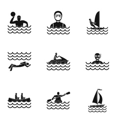 Water sport icons set simple style vector image vector image