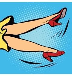 woman falls or waving his legs vector image