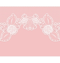 Lace pattern on a pink background White flowers vector image