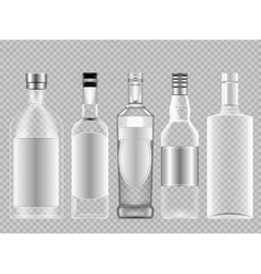 Set of transparent glass vodka alcohol vector