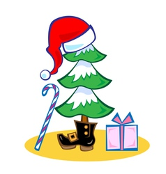 Fir tree in hat and boot of santa claus vector