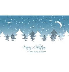 Christmas landscape moon stars and trees vector