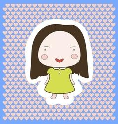 Cute happy smiling cartoon baby girl vector