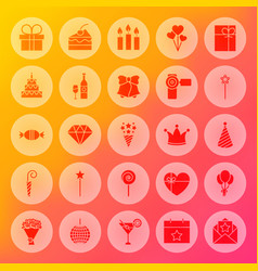 Happy birthday solid circle icons vector