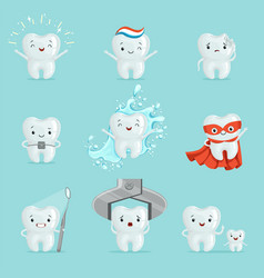 cute teeth with different emotions set for label vector image