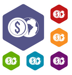 world planet and dollar coin icons set hexagon vector image