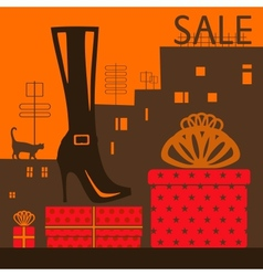 Showcase shoe store vector